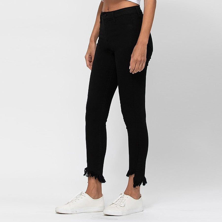 Asymmetric Frayed Hem Jeans - Popstry