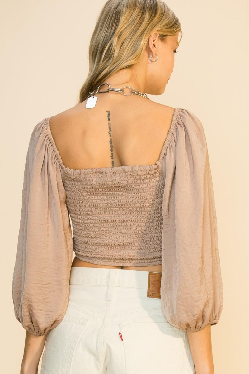 Balloon Sleeve Ruched Crop Top - Popstry