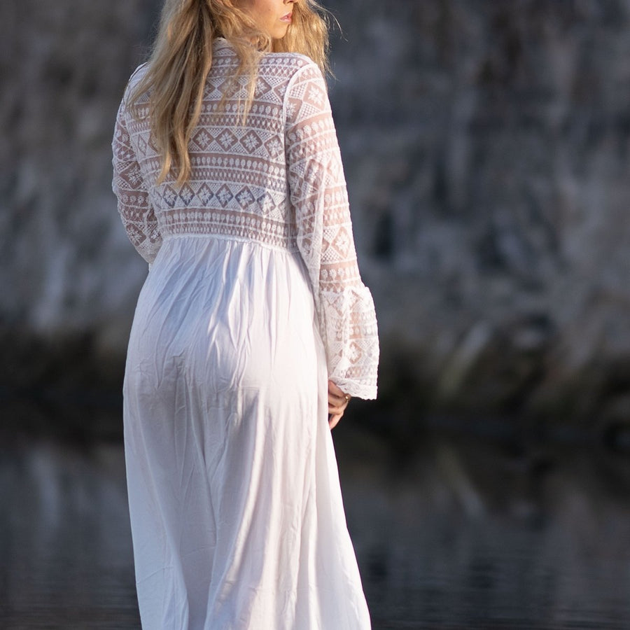 Breathable White Crochet Cover Up - Popstry