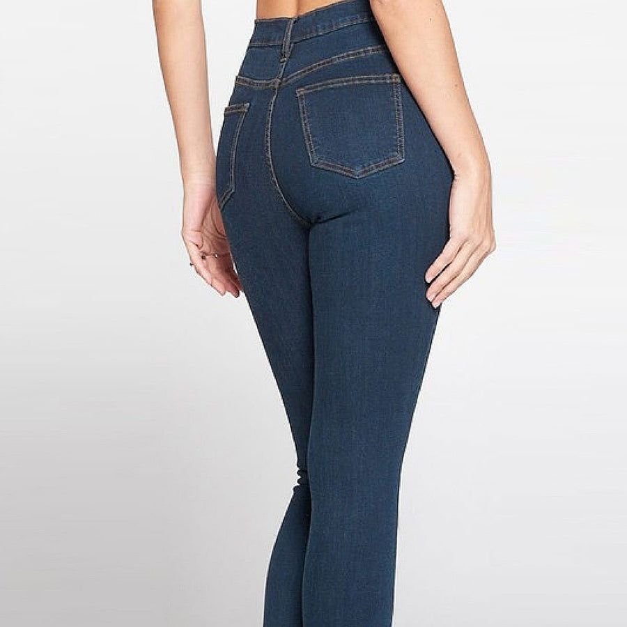Button Waist Skinny Jeans - Popstry
