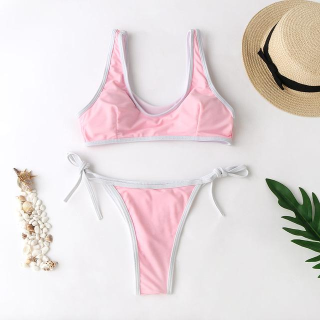 Contrast Trim Scoop Neck Bikini - Popstry