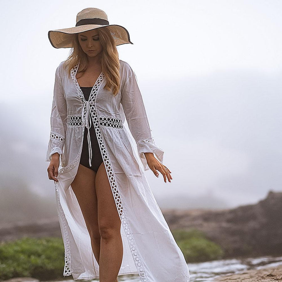 Crochet White Knitted Beach Cover Up - Popstry