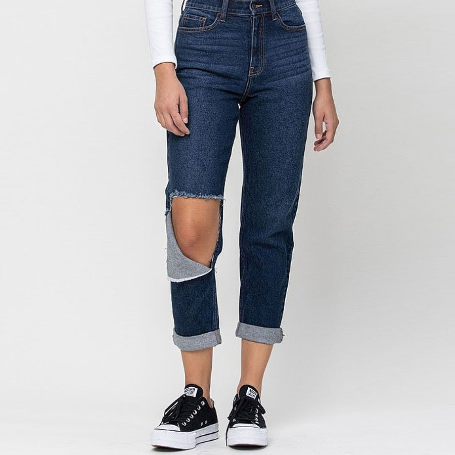 Dark Knee Cut Mom Jeans - Popstry