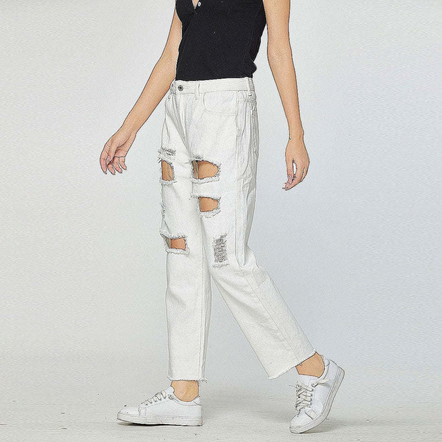Destroyed Straight White Jeans - Popstry