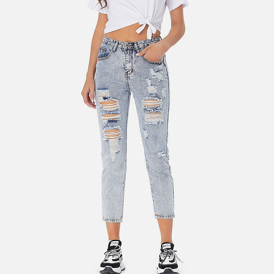 Distressed Ankle Slim Jeans - Popstry
