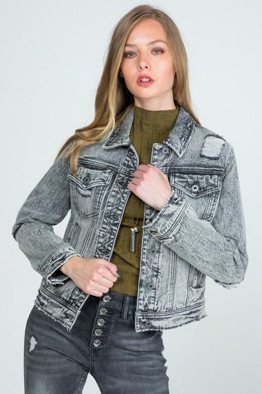 Distressed Gray Denim Jacket - Popstry