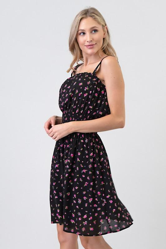 Floral Crinkled Waist Smocked Dress - Popstry