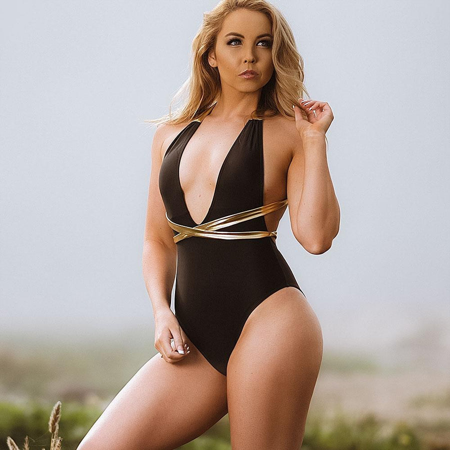 Golden Sparkle One Piece Swimsuit - Popstry