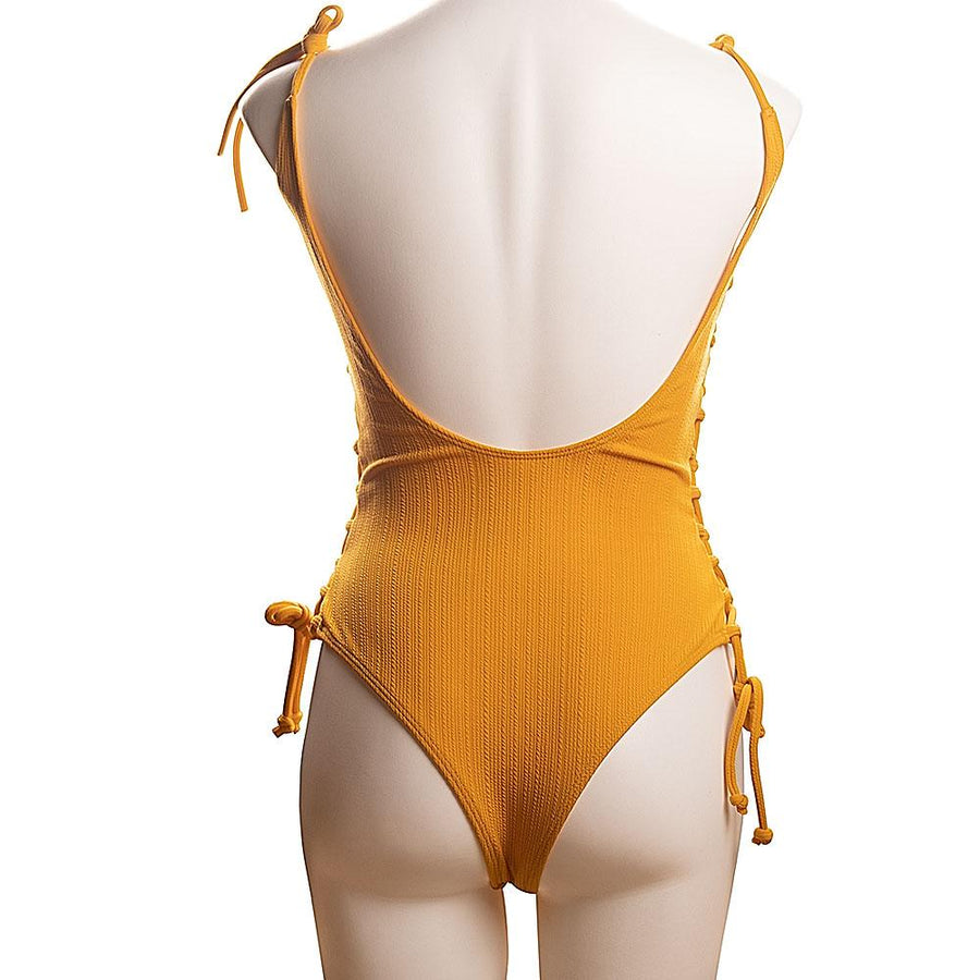 Lace Up One Piece Swimsuit - Popstry