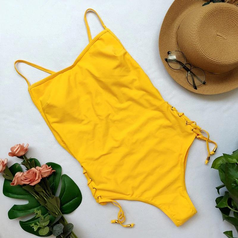 Lace-up Solid Swimsuit - Popstry