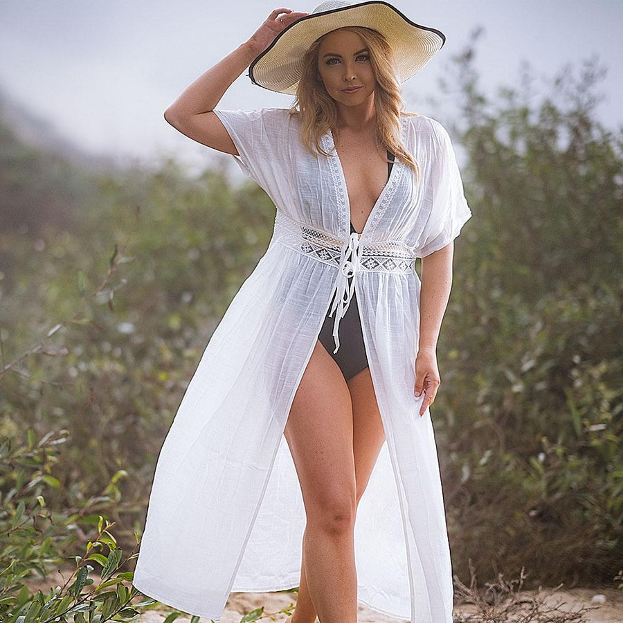 Long White Knitted Beach Cover Up - Popstry