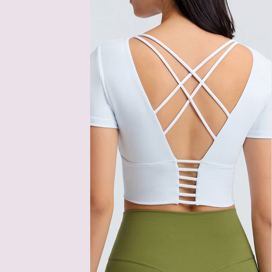 Open Criss Cross Back Active Top - Popstry