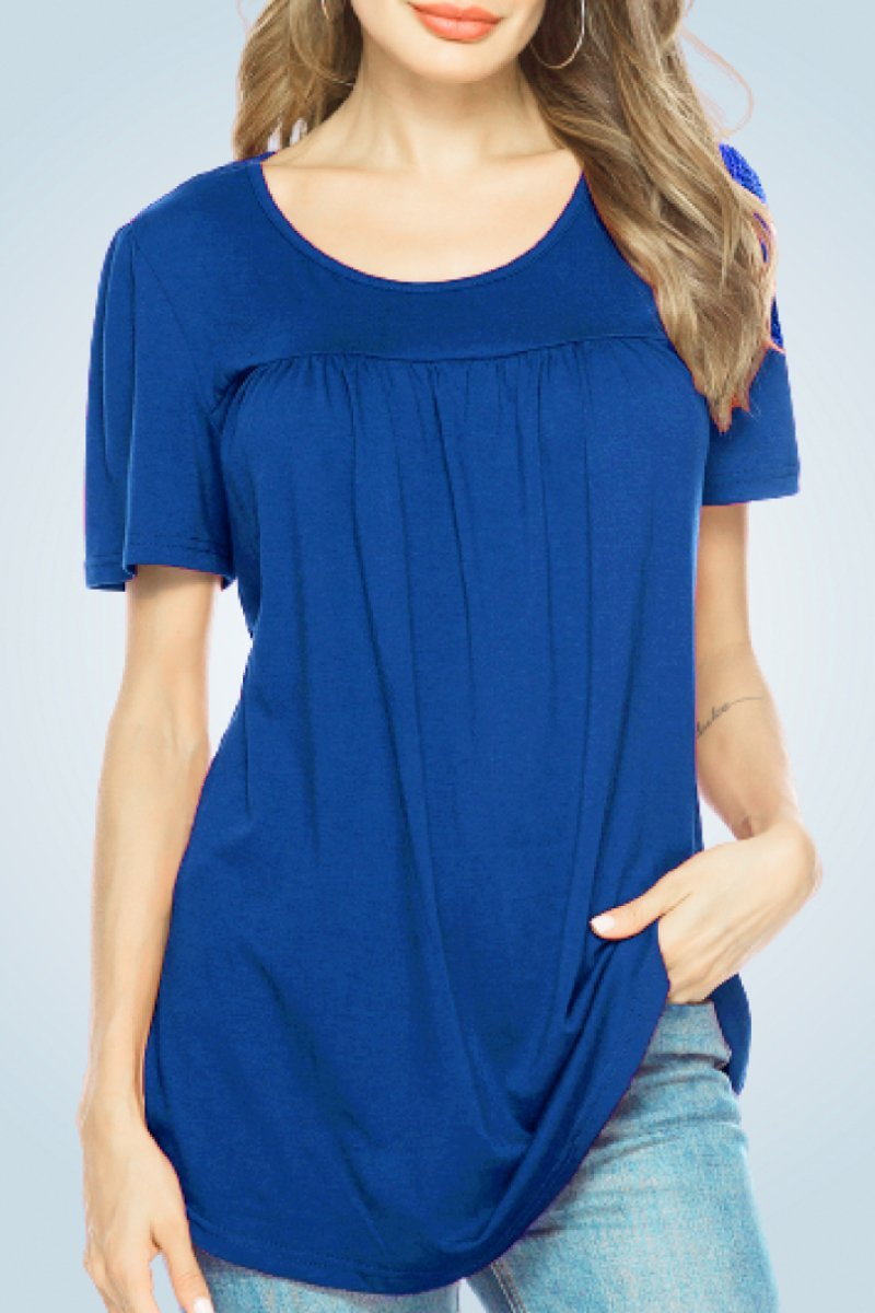 Scoop Neck Pleated Tunic Blouse - Popstry