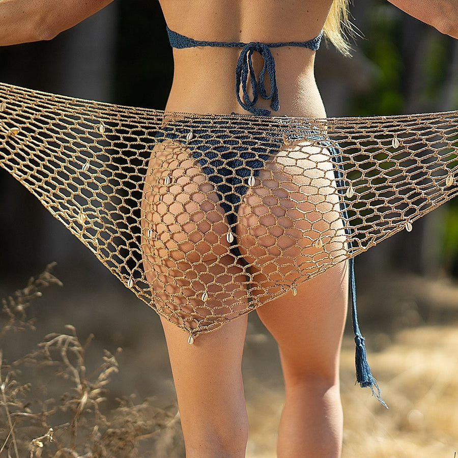 Shell-embellished Net Sarong - Popstry