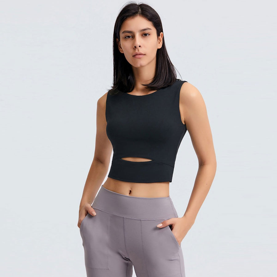 Sleeveless Keyhole Cropped Active Top - Popstry