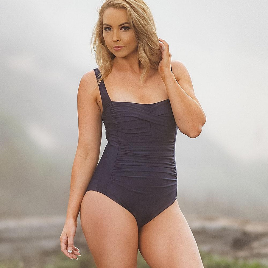Square Neckline One Piece Swimsuit - Popstry