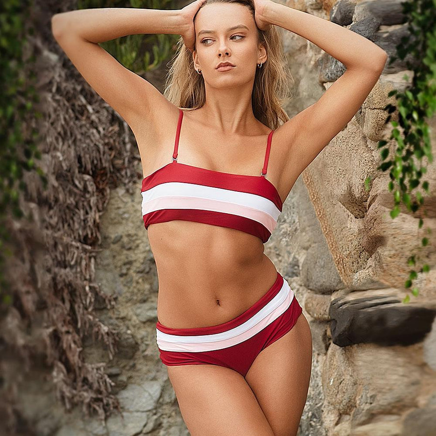 Striped High-waisted Bikini - Popstry