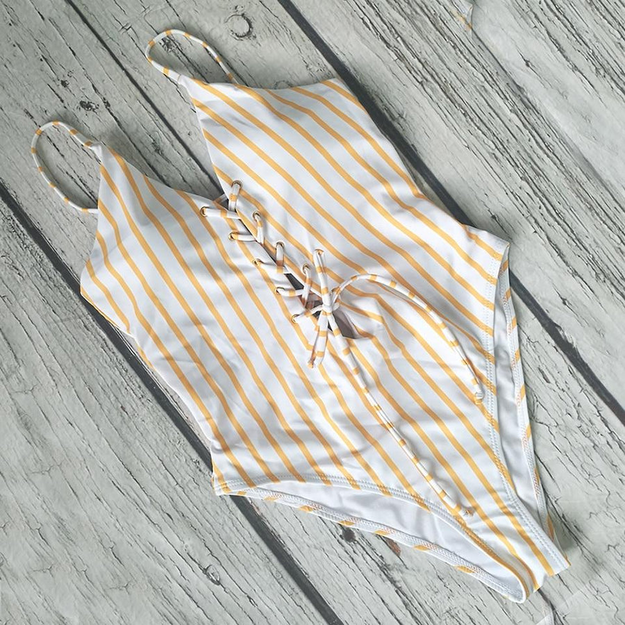 Striped Lace-up Swimsuit - Popstry