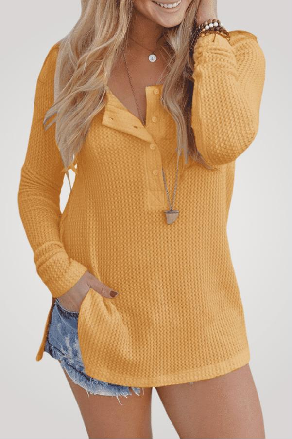 Waffle Knit Loose Fitting Tunic Blouse - Popstry