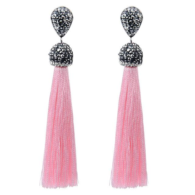 f05ee4c39 Handmade Crystal & Silk Tassel Earrings (12 Variants)