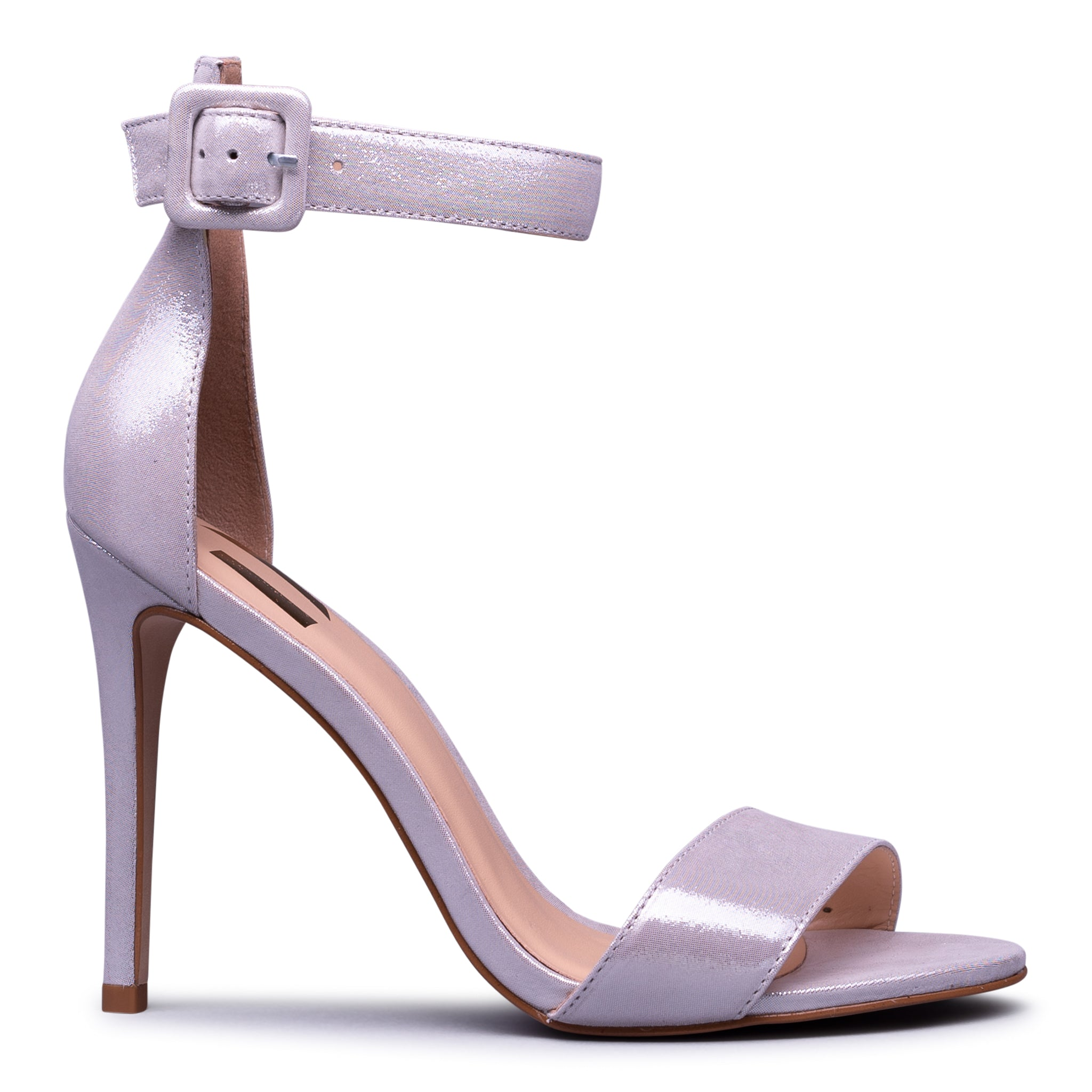 Silver Leather Stiletto Heel Sandal with ankle strap