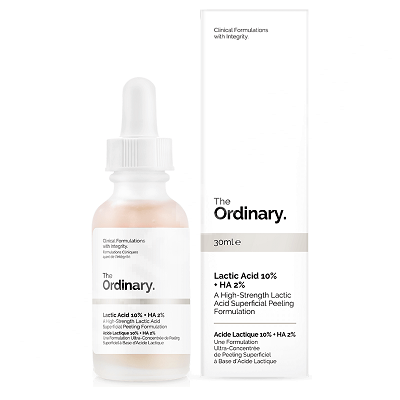 Microdermabraziune tratament  exfoliere cu  Acid Lactic 10% + Acid Hialuronic 2% The Ordinary