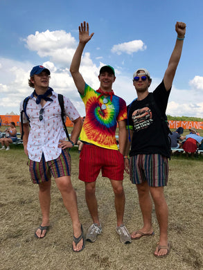 3 Men wearing Large Regular at Bonnaroo Music Festival