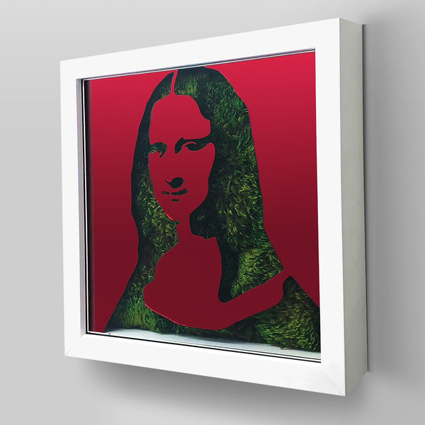 "Ready-to-Hang framed contemporary artwork combining Plexiglass in Red mirror, real preserved moss plant and/or flowers. Framed in a 3"" deep White wooden floater, protective clear plexi. Comes in  26 x 26 x 3 inches or 18 x 18 x 3 inches. Green room decor ideas"