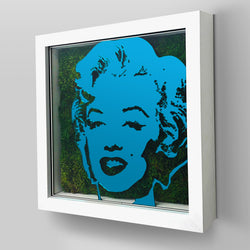 Nature-inspired ArtBox® collection combines real preserved moss and/or flowers with Marilyn Monroe inspired plexiglass design.