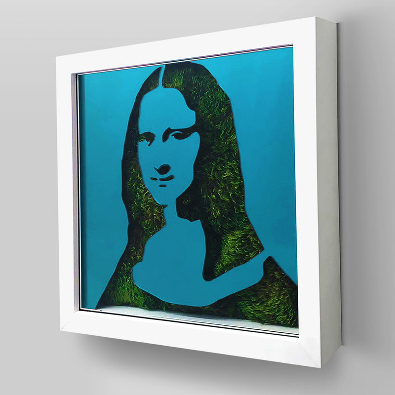 "Ready-to-Hang framed contemporary artwork combining Plexiglass in Cyan Blue mirror, real preserved moss plant and/or flowers. Framed in a 3"" deep White wooden floater, protective clear plexi. Comes in  26 x 26 x 3 inches or 18 x 18 x 3 inches. Green Living room decor ideas"