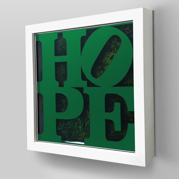 Nature-inspired ArtBox® collection combines real preserved moss and/or flowers with HOPE inspired plexiglass design.