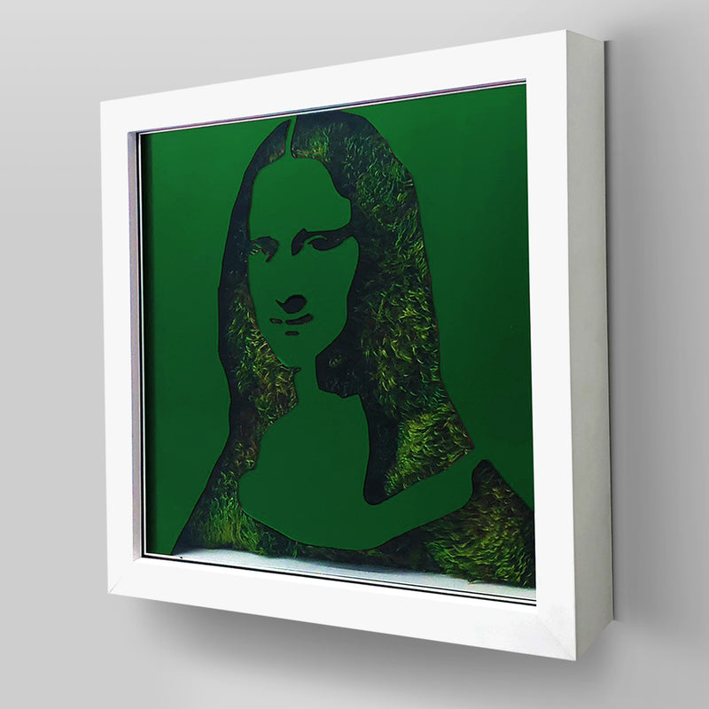 "Ready-to-Hang framed contemporary artwork combining Plexiglass in Green mirror, real preserved moss plant and/or flowers. Framed in a 3"" deep White wooden floater, protective clear plexi. Comes in  26 x 26 x 3 inches or 18 x 18 x 3 inches. Green Living decor ideas"