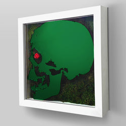 "Ready-to-Hang framed contemporary artwork combining Plexiglass in Green mirror, real preserved moss plant and/or flowers. Framed in a 3"" deep White wooden floater, protective clear plexi."