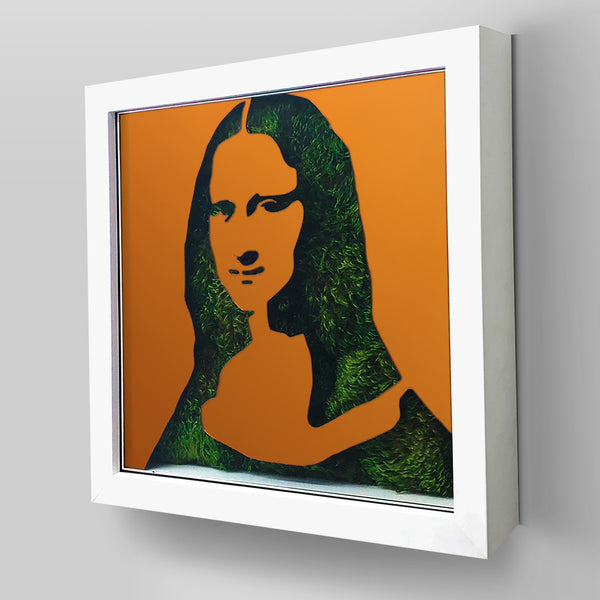 "Ready-to-Hang framed contemporary artwork combining Plexiglass in Orange mirror, real preserved moss plant and/or flowers. Framed in a 3"" deep White wooden floater, protective clear plexi. Comes in  26 x 26 x 3 inches or 18 x 18 x 3 inches. Green Living room decor ideas"