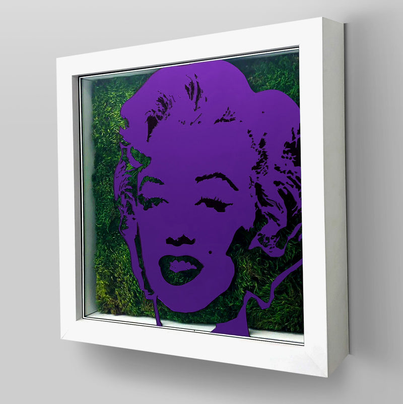 Ready-to-Hang Marilyn Monroe artwork combining Plexiglass in Purple mirror, real preserved moss plant and/or flowers.