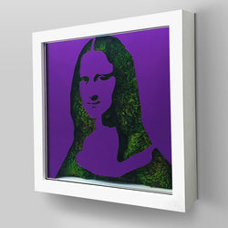 "Ready-to-Hang framed contemporary artwork combining Plexiglass in Purple mirror, real preserved moss plant and/or flowers. Framed in a 3"" deep White wooden floater, protective clear plexi. Comes in  26 x 26 x 3 inches or 18 x 18 x 3 inches. Green Living decor ideas"