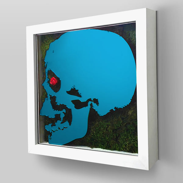 "Ready-to-Hang framed contemporary artwork combining Plexiglass in Cyan Blue mirror, real preserved moss plant and/or flowers. Framed in a 3"" deep White wooden floater, protective clear plexi."