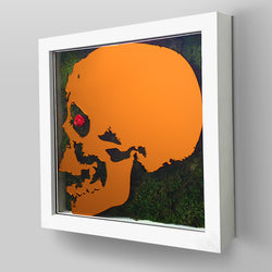 "Ready-to-Hang framed contemporary artwork combining Plexiglass in Orange mirror, real preserved moss plant and/or flowers. Framed in a 3"" deep White wooden floater, protective clear plexi."