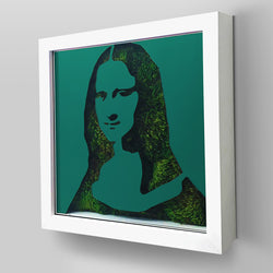"Ready-to-Hang framed contemporary artwork combining Plexiglass in Turquoise mirror, real preserved moss plant and/or flowers. Framed in a 3"" deep White wooden floater, protective clear plexi. Comes in 26 x 26 x 3 inches or 18 x 18 x 3 inches. Green Living room decor idea."