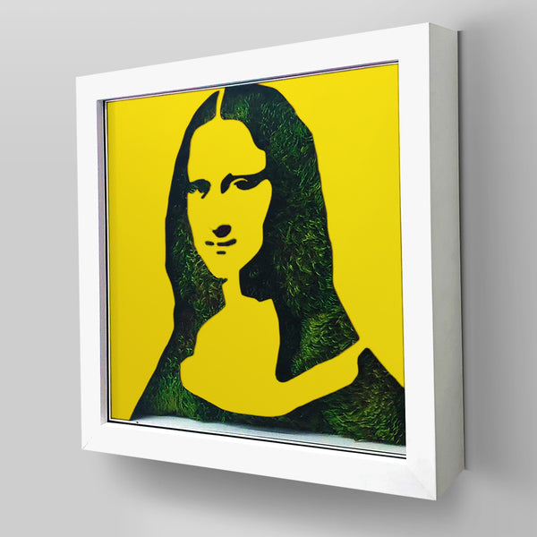 "Ready-to-Hang framed contemporary artwork combining Plexiglass in Yellow mirror, real preserved moss plant and/or flowers. Framed in a 3"" deep White wooden floater, protective clear plexi. Comes in  26 x 26 x 3 inches or 18 x 18 x 3 inches. Green Living Decor Ideas"
