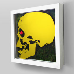 "Ready-to-Hang framed contemporary artwork combining Plexiglass in Yellow mirror, real preserved moss plant and/or flowers. Framed in a 3"" deep White wooden floater, protective clear plexi."