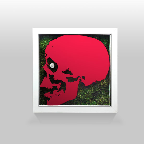 "Ready-to-Hang framed contemporary artwork combining Plexiglass in Red mirror, real preserved moss plant and/or flowers. Framed in a 3"" deep White wooden floater, protective clear plexi."
