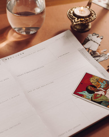Alter Planning Co's Tarot Journal done in collaboration with Tatianna Tarot, A photo of the daily spread