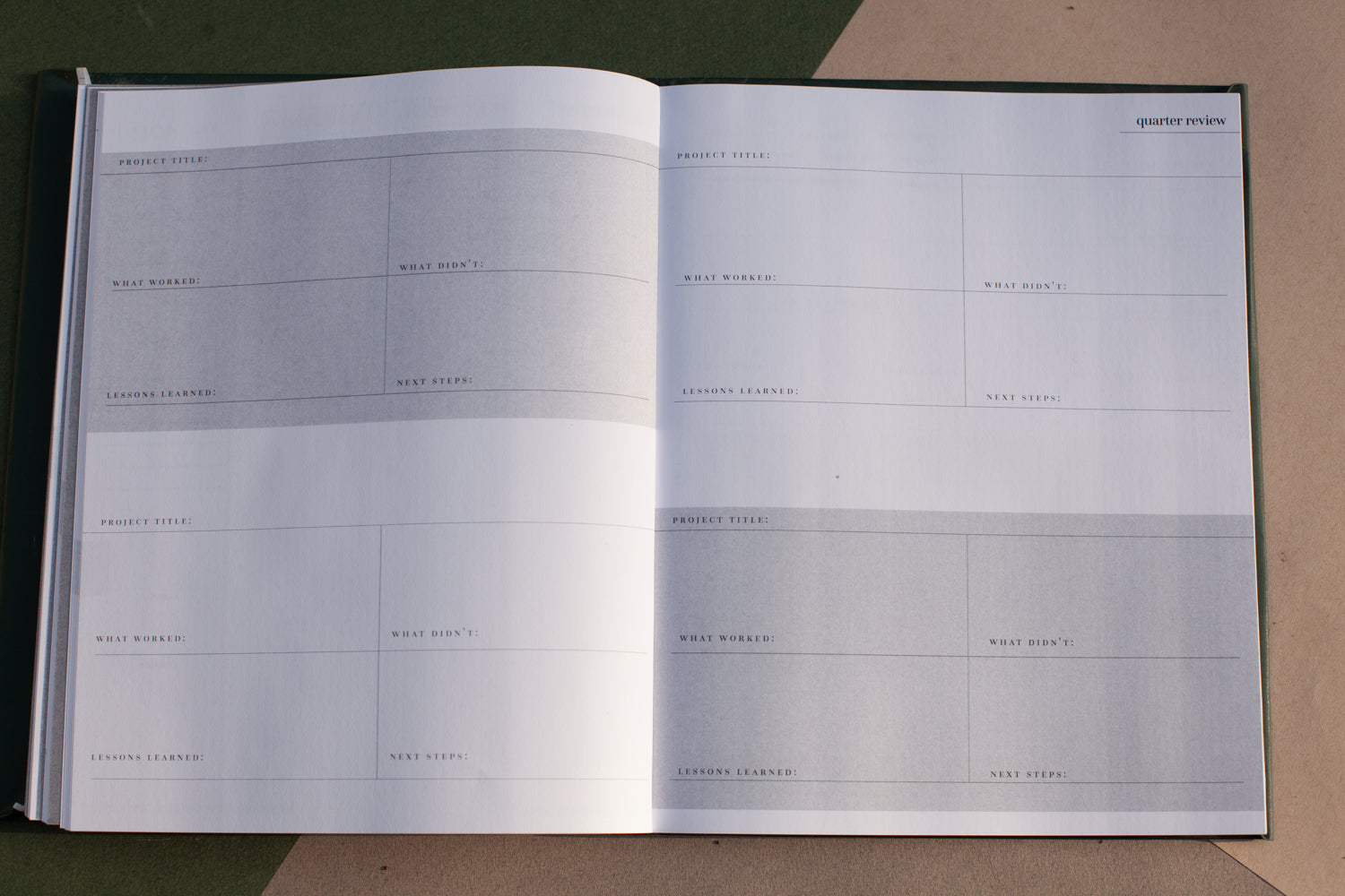 Alter Planning Co's Annual Planner Quarterly Review Layout