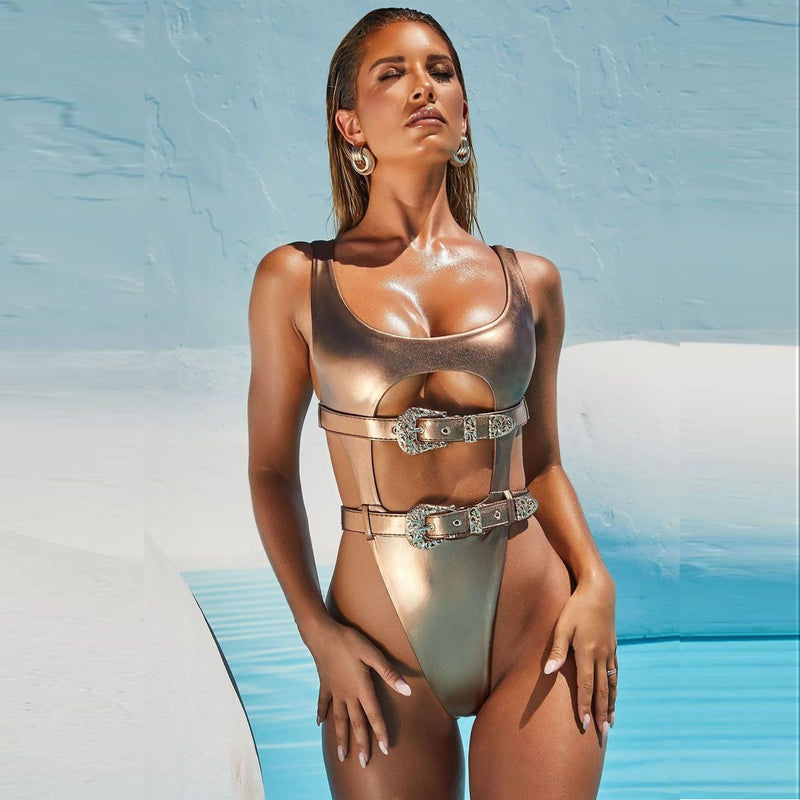 Cheeky Thong Metallic Swimsuit - Flip Flop Labs