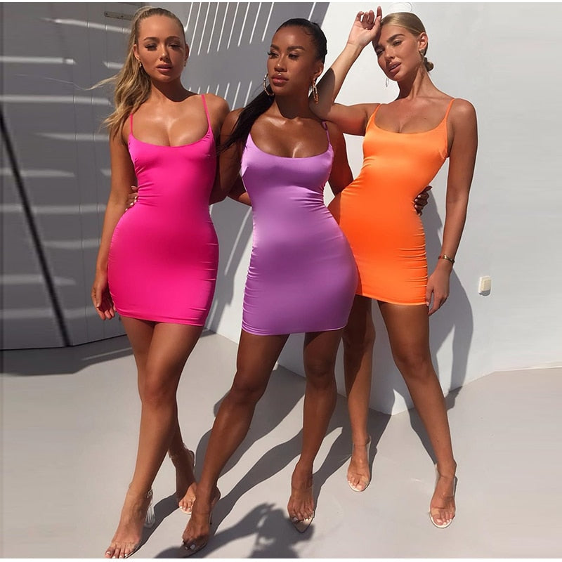 Neon Bodycon Low Cut Dress - Flip Flop Labs