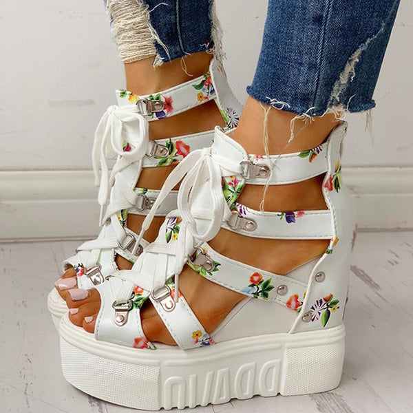 Lace-up Platform Wedge Sandals - Flip Flop Labs