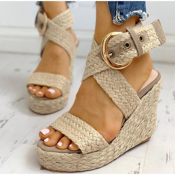 Big buckle Weave Wedge Sandals - Flip Flop Labs