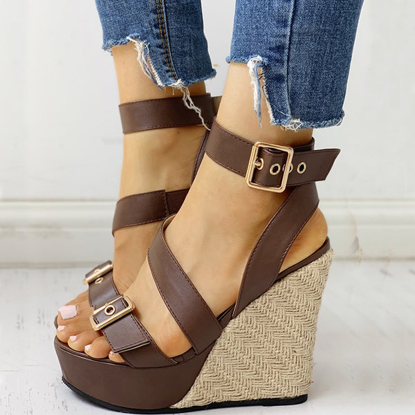 Gladiator Big Buckle Wedge Sandals - Flip Flop Labs