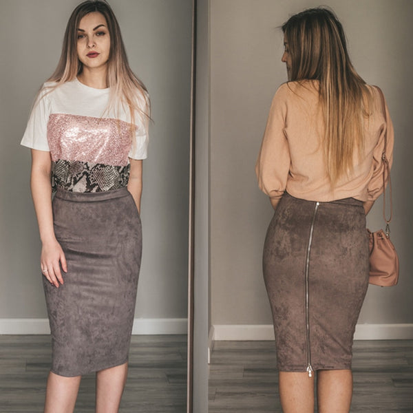 Faux Suede High Waist Midi Skirt - Flip Flop Labs